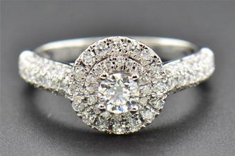 Round Solitaire Diamond Engagement Ring 14K White Gold Circle Halo 1.00 Ct