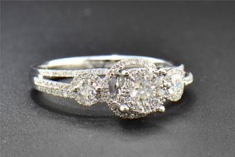 3 Stone Diamond Engagement Ring 14K White Gold Halo Style Round Cut 0.69 Ct