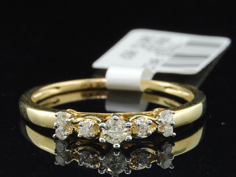 Round Solitaire 7 Diamond Engagement Ring 10K Yellow Gold 0.16 Ct