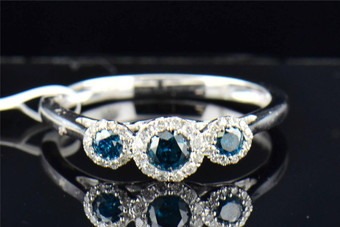 Blue Diamond 3 Stone Engagement Ring 10K White Gold  Halo Anniversary 0.40 CT