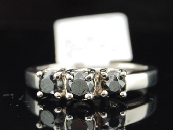 Ladies 14K White Gold 1Ct 3 Stone Black Diamond Engagement Ring Wedding Ring Set