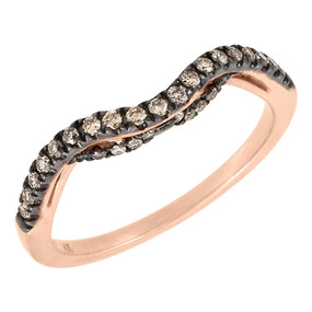 14K Rose Gold Brown Diamond Solitaire Engagement Ring Ladies Enhancer 0.25 Ct.
