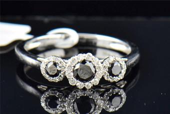 Ladies 10K White Gold 3 Stone Black Diamond Halo Engagement Anniversary Ring