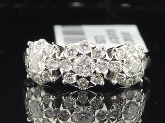 Diamond Flower Three Stone Engagement Ring White Gold Designer Bridal 1 Ct.