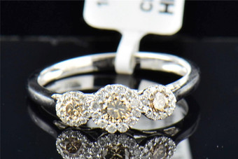 Ladies 10K White Gold 3 Stone Brown Diamond Halo Engagement Anniversary Ring