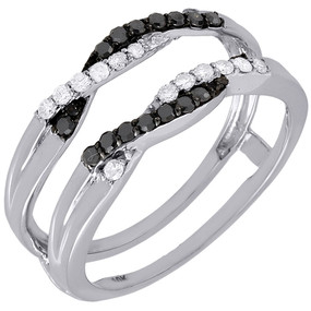 10K White Gold Black Diamond Solitaire Engagement Ring Enhancer Wrap 0.27 Ctw.