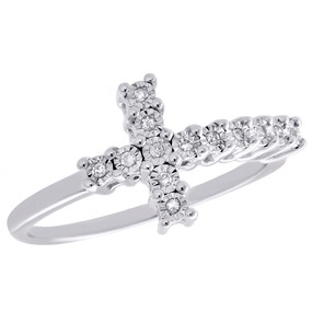 .925 Sterling Silver Fanuk Set Diamond Sideways Cross Ring Promise Band 1/20 CT.
