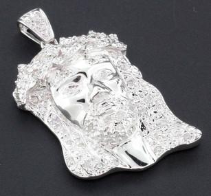 10k White Gold Diamond Pendant Teardrop Mini Jesus Piece Head Pave High Polished
