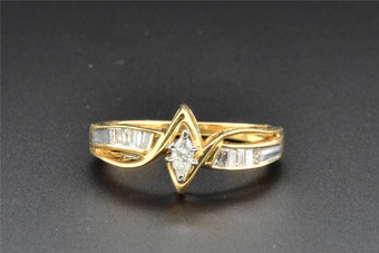 Marquise Solitaire Diamond Engagement Ring 14K Yellow Gold Baguette Cut 0.25 Ct
