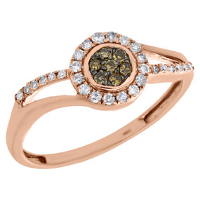 10K Rose Gold Brown Diamond Split Shank Round Halo Flower Cocktail Ring 0.25 Ct.
