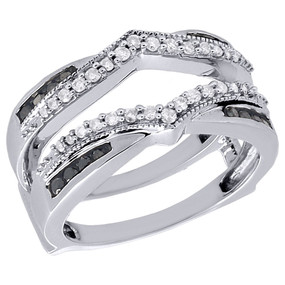 10K White Gold Black & White Diamond Enhancer Wrap Jacket Wedding Ring 1/2 Ct