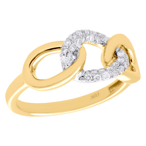 10K Yellow Gold Diamond Interlinked Band Triple Link Right Hand Ring