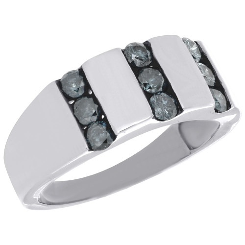 925 sterling silver mens blue diamond wedding band round engagement
