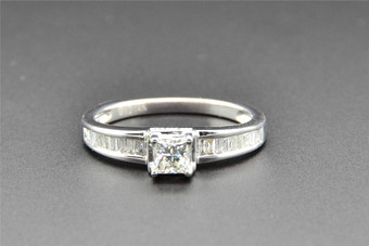 Princess Solitaire Diamond Engagement Ring 14K White Gold Baguette Cut 0.52 Ct
