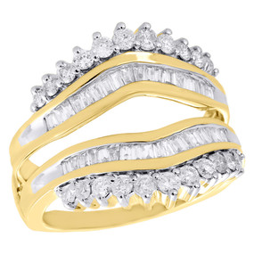 10K Yellow Gold Diamond Enhancer Ring Wrap Jacket Contour Wedding Band 1.02 Ct.