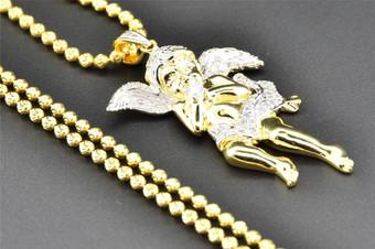 .925 Sterling Silver Mini Diamond Jesus Angel Pendant Charm 0.41 Ct. with Chain