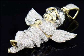 10K Diamond Angel Yellow Gold Mens Ladies XXL Cherub Pendant Charm 4.89 CT