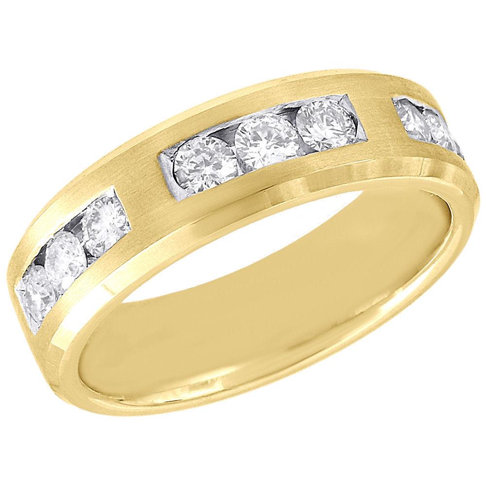 Wedding Bands For Less: 10K Yellow Gold Mens Diamond Satin Finish Wedding Band