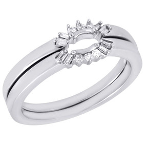 10K White Gold Diamond Ladies Solitaire Engagement Ring Enhancer Wrap .14 Ct.