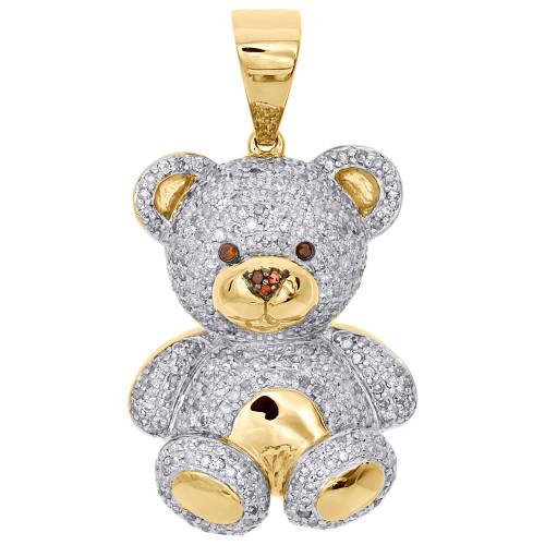 10k yellow gold genuine diamond teddy bear pendant 140 3d pave image 1 aloadofball Gallery