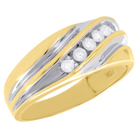 10K Two Tone Gold Mens Diamond Wedding Band Waved 5 Stone Engagement Ring 1/4 Ct