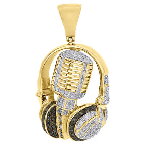 "10K Yellow Gold 1.5"" DJ Headphone & Microphone Black Diamond Pendant Charm 1 Ct."