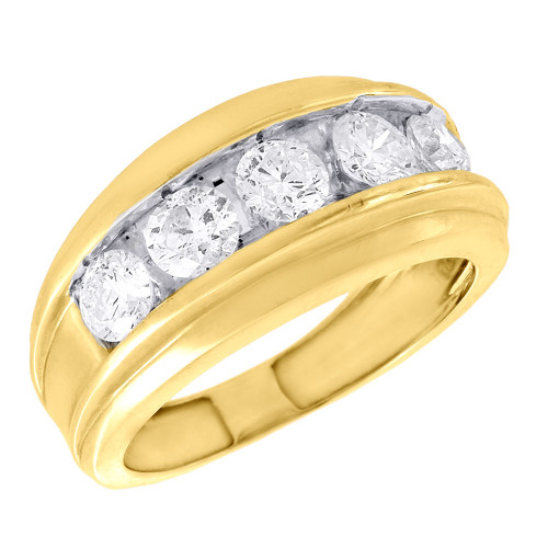 14K Yellow Gold Wedding Band Mens 5 Stone Round Diamond Anniversary