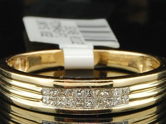 10K MENS YELLOW GOLD PRINCESS CUT DIAMOND ENGAGEMENT RING WEDDING BAND SET .16CT