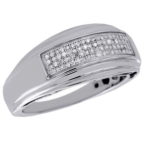 .925 Sterling Silver Diamond Mens Wedding Band Pave Set Engagement Ring 0.20 Ct.