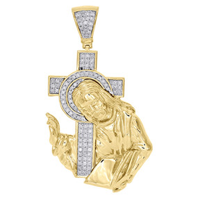 "10K Yellow Gold Diamond Jesus Crucifix Cross Pendant Mens 2"" Pave Charm 0.65 Ct."