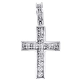"10K White Gold Genuine Diamond Dome Cross Mini Pendant 1.20"" Pave Charm 0.25 CT."