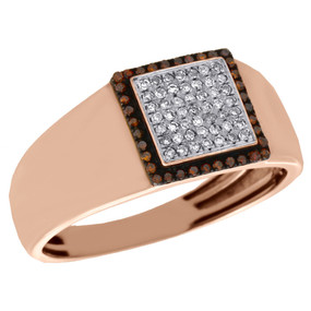 10K Rose Gold Red & White Diamond Wedding Band Mens Square Pinky Ring 0.25 Ct.