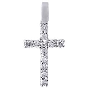 10K White Gold Diamond Mini Cross Pendant Solitaire Round Cut Charm 0.50 Ct.