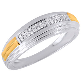 .925 Sterling Silver Diamond Wedding Band Mens 6.65mm Engagement Ring 0.10 Ct