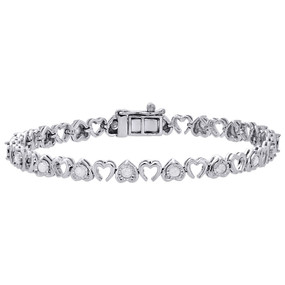 ".925 Sterling Silver Diamond Fanuk Set Double Heart Tennis Link Bracelet 7"" 1 Ct"