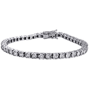 "1 Row Sterling Silver Genuine Round Diamond Tennis Bracelet 7.25"" Links 1.01 CT."