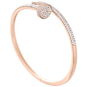 14K Solid Rose Gold Round Diamond Nail Bangle Size 20cm Unisex Bracelet 2.80 Ct.