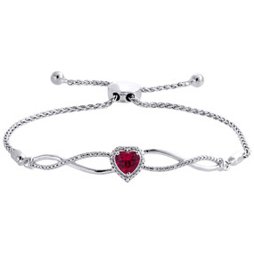 1/20 CT. Created Ruby & Diamond Infinity Heart Bolo Bracelet Sterling Silver 8""