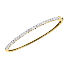 "14K Yellow Gold Diamond 27 Stones Traditional Ladies Bangle Bracelet 7.5"" 2 Ct."