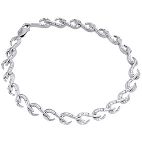 ".925 Sterling Silver Ladies Round Diamond Hook Design Link 7.5"" Bracelet .15 Ct."