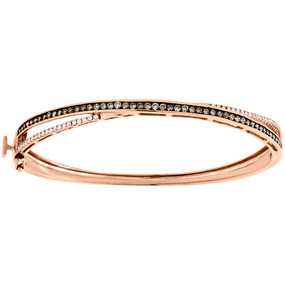 "14K Rose Gold Brown & White Diamond Criss Cross 7.5"" Bangle Ladies Bracelet 1 Ct"