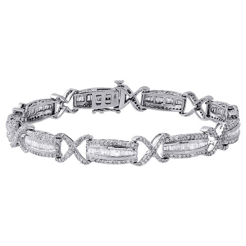 and jewelry bracelet tw ct baguette diamond round fashion