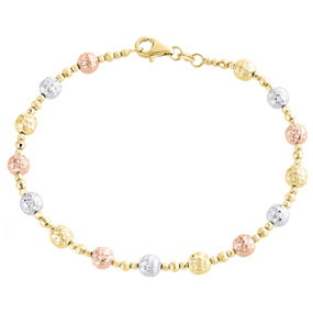 "14K Tri Color Gold Texture Moon Cut / Candy Bead 5mm Fancy Italian Bracelet 7"""