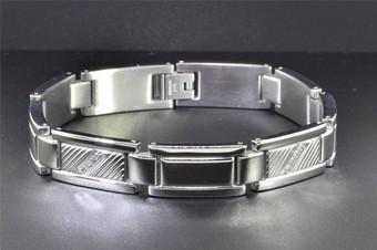 Mens Stainless Steel Genuine Diamond Bracelet Textured & Polished .10 ct.