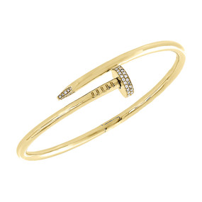 14K Solid Yellow Gold Real Diamond Nail Bangle Size 20cm Unisex Bracelet 0.34 Ct