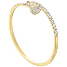 14K Solid Yellow Gold Round Diamond Nail Bangle Size 20cm Unisex Bracelet 2 CT.