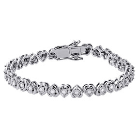 "1 Row Heart Shaped Diamond Tennis Bracelet Bezel Set 925 Sterling Silver 7"" 1 Ct"