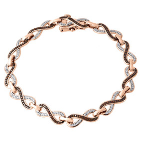 10K Rose Gold Ladies Round Diamond Infinity Loop Style Bracelet 7 Inches 0.75 Ct