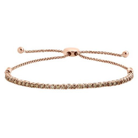 "10K Rose Gold Genuine Brown Diamond Prong Set Tennis Bolo Bracelet 10"" - 2 CT."