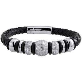 Diamond Beaded Ball Bracelet Arctica Mens Leather Strand Stainless Steel 3.75 Ct